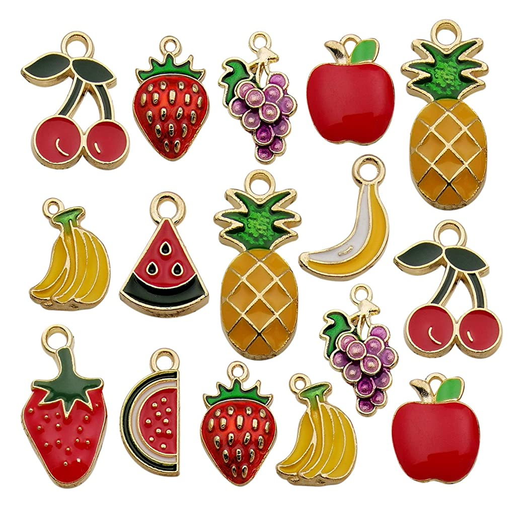 iloveDIYbeads 30pcs Assorted Gold Plated Enamel Pineapple Strawberry Banana Grape Fruit Charm Pendant for DIY Jewelry Making Necklace Bracelet Earring DIY Jewelry Accessories Charms M299