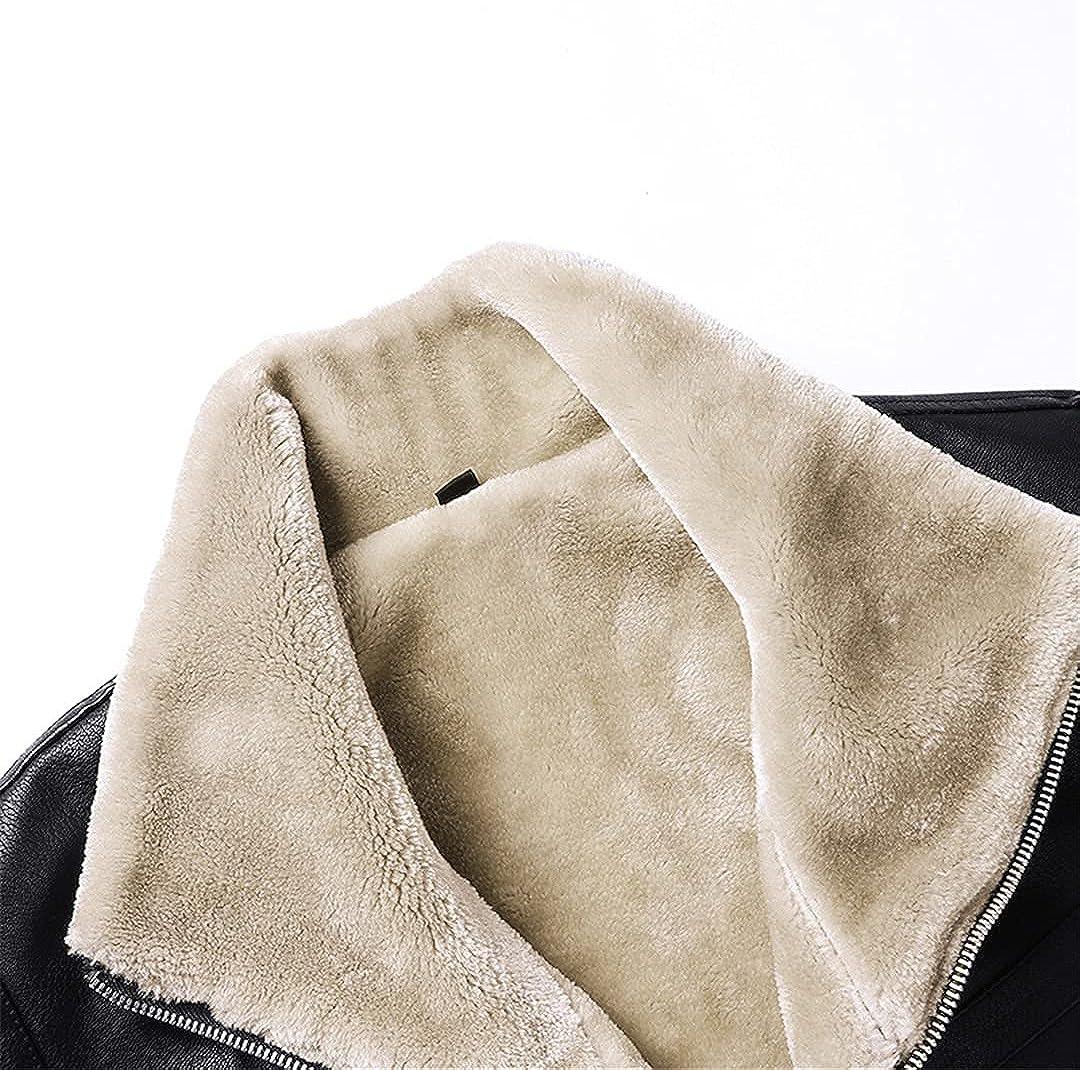 Men's Leather Jackets Motor Fur Collar Leather Jacket Coats Male Winter Plus Fleece Thicken Biker Tops