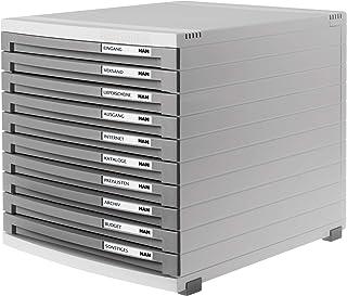 Han Contur - Unidad de almacenamiento de escritorio (10 cajones cerrados tamaño B4) color gris claro y gris