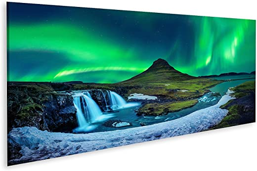 Bild auf Leinwand nordlicht aurora borealis kirkjufell island kirkjufell berge winter nordlicht aurora borealis Bilder Wandbild Poster Leinwandbild