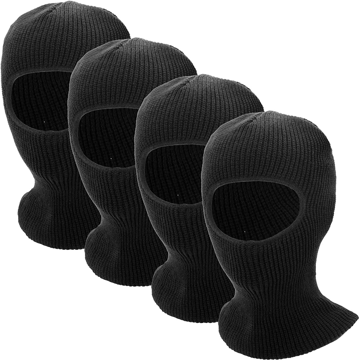 4 Pieces of Ski Knitted Face Cover- Winter Warm Balaclava Full Face Mask Windproof Neck Gaiter for Winter Outdoor Sports Black