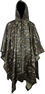 HOW'ON Military Multifunction Realtree Camouflage Waterproof Rain Poncho Adults(Gift Emergency Blanket)