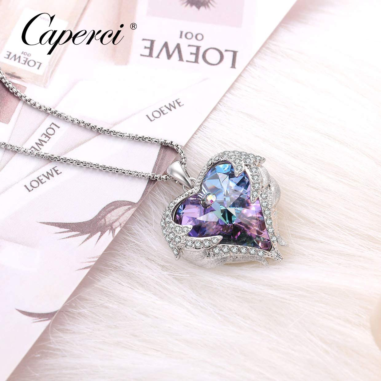 Caperci Angel Wings Heart Swarovski Crystal Pendant Necklace - Romantic Valentine's Day Jewelry Gifts for Her