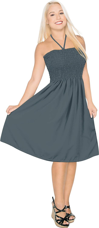 LA LEELA Women's One Size Tube Dress Bohemian Casual Dress Cover Ups Embroidered