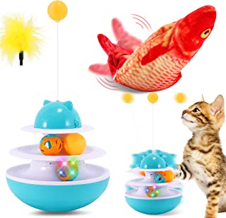FiGoal Windmill Cat Toy with Plush Moving Fish Flopping Fish Cat Dog Toy USB Chargeable Cat Kicker Wiggle Fish Catnip Kitt...
