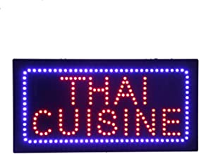 LED Thai Cuisine Open Light Sign Super Bright Electric Advertising Display Board for Asian Food Fare Fusion Dishes Eatery Bistro Restaurant Business Shop Store Window 24 x 12 inches (Blue)