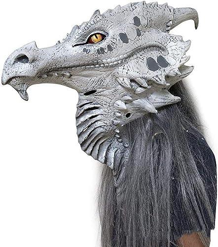 Circlefly Lebensechte Monster Maske Horror Halloween Silber Dragon Latexmaske Kostüm-Party Größelige Requisiten