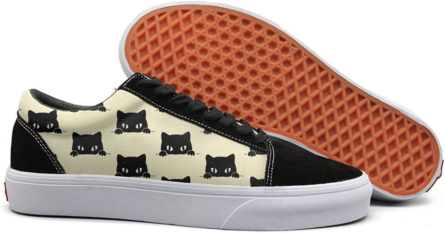 Winging Women Cat Black cat Kitten Meow Comfortable Suede Canvas shoes Old Skool Sneakers
