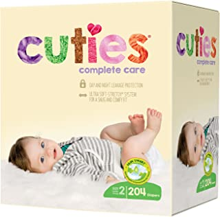Cuties Complete Care Baby Diapers - Size 2 (204 Count)
