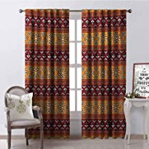GloriaJohnson Native American Shading Insulated Curtain Maya Inspired Horizontal Esoteric Latin Inspired Geometric Pattern Print Soundproof Shade W42 x L90 Inch Ruby Apricot