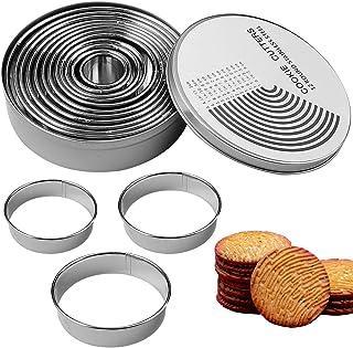 12pcs Emporte-Pièces, 12 Tailles Emporte Piece Patisserie Rond Cercle Patisserie Biscuit Cookie Cutter pour Pâtes à Sucre,...
