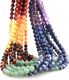 ICAI Beads 8mm Natural Colorful Stone Round Loose Stone Beads for Jewelry Making DIY Crafts Design 1 Strand 15