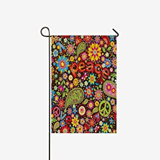 INTERESTPRINT Funny Hippie Peace Sign Paisley Flowers Garden Flag Decorative for Garden and Home Decorations, House Banner 12 x 18 Inches (Without Flagpole)