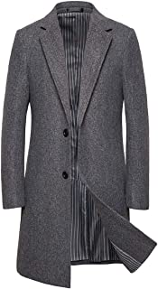 Men's Mid Long Wool Blend Pea Coat Single Breasted Overcoat Winter Trench Coat