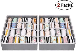 comprar comparacion joyoldelf 2 Paquetes Textil organizadores cajón divisores, 24 Celdas Plegable Ropa Interior Cajas de Almacenamiento para a...