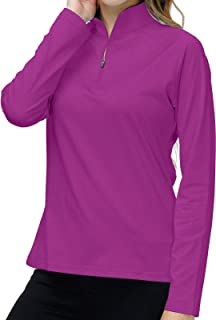Long Sleeve Sports Athletic Shirts for Women Half Zip Stand Up Collar Workout Training Shirts Athletic Tops