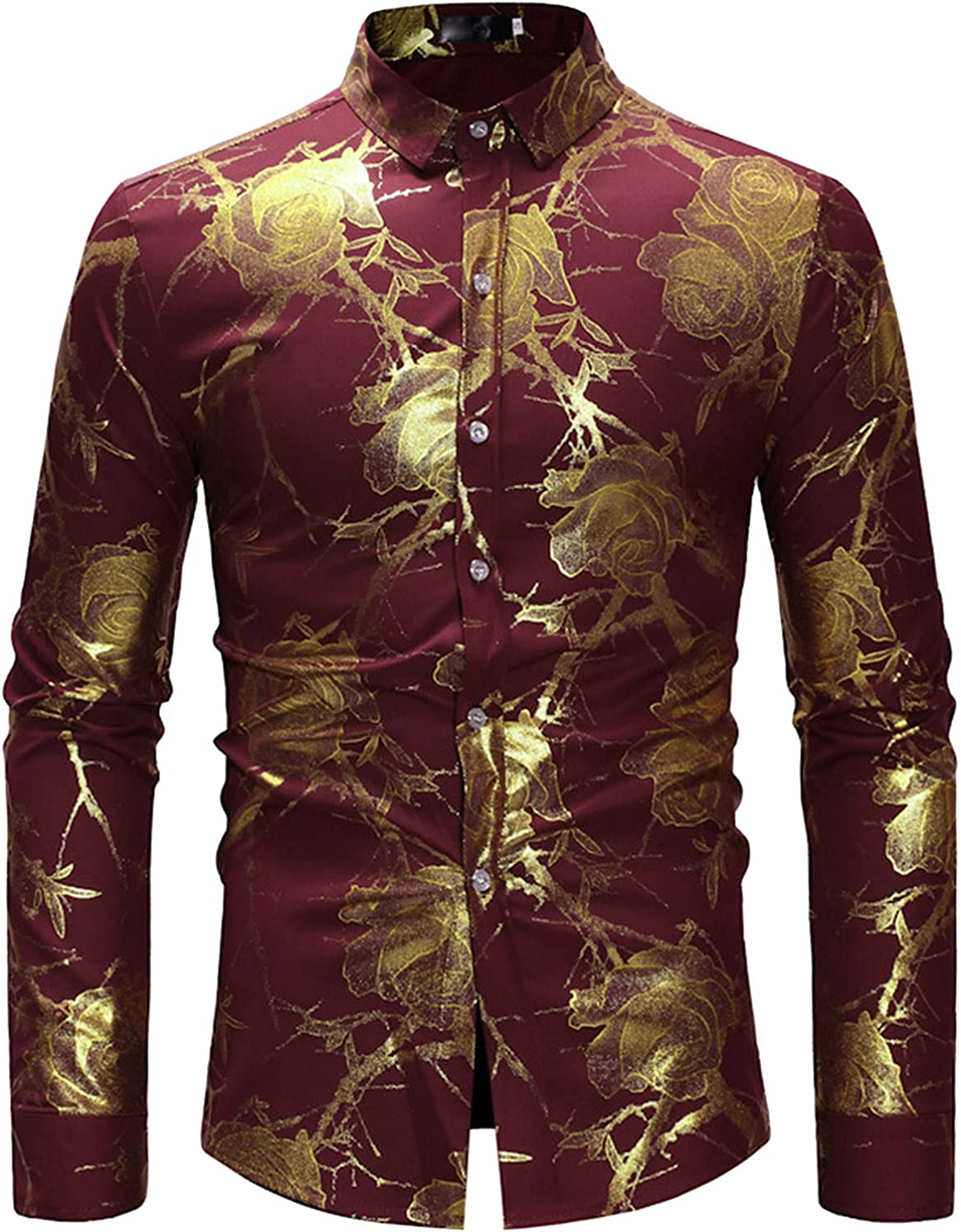 Men's Regular Fit Long Sleeve Dress Shirts Casual Stylish Floral Printing Button Up Casual Work Shirts Tops
