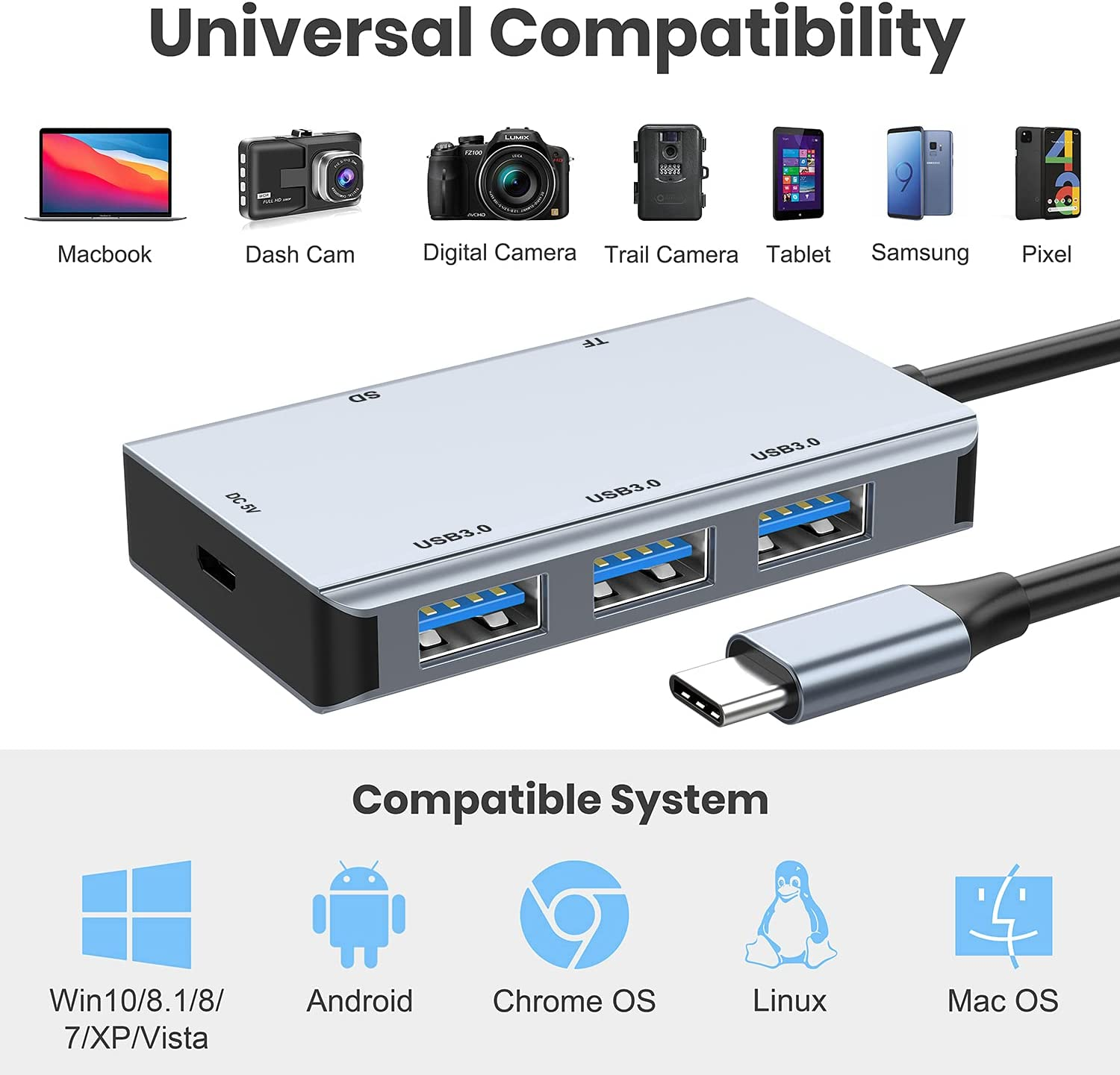 USB C to SD Card Reader, Vilcome Type C to SD Card Reader Adapter with 3 USB 3.0 Port & 5V Power Suply, 2TB Capacity Memory Card for MacBook Camera Android Windows Linux and Other Type C Device