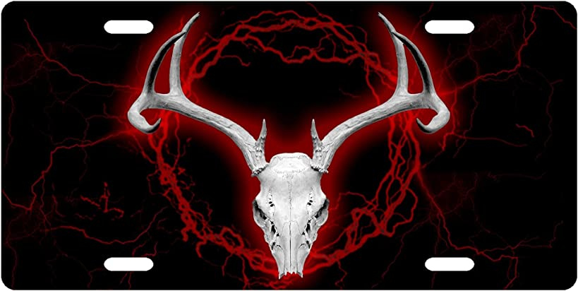 Red Deer Skull License Plate Novelty Tag from Redeye Laserworks
