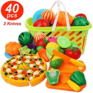 Cutting Play Food Kitchen Pretend - Grocery Basket Toys for Kids 40pcs Children Girls Boys Educational Early Age Basic Ski...