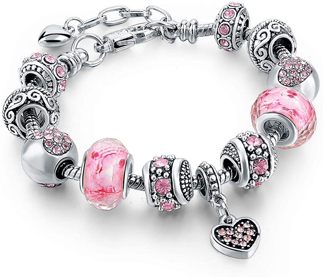 Long Way Silver Tone Chain Pink Bead New York Mall Ch Heart Crystal Glass Love Department store