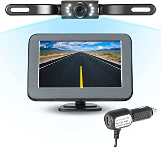 $38 » Backup Camera with 5 inch Monitor License Plate Back Up Camera Rear View Camera Car Reverse Camera ,Easy Installation Syst...