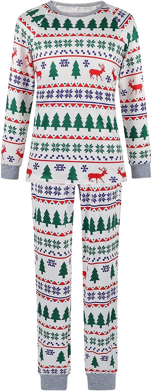 White Christmas Pajamas Family Pjs Set Christmas Tree and Elk Print Sleepwear for The Family Women and Men