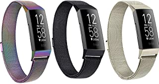 SINPY Watch Bands for Fitbit Charge 3 Strap,Metal Magnetic Replacement Straps for Men/Women,Compatible with Fitbit Charge 3 SE /Fitbit Charge 4 Wristband(Small:150mm-230mm/Large:180mm-260mm)