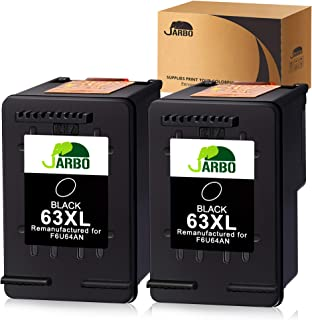 JARBO Remanufactured for HP 63XL 63 Black Ink Cartridge, HP 63 XL, 2 Black, for HP Envy 4520 4516 Officejet 4650 3830 3831 3833 4655 Deskjet 1112 3630 3632 3633 3636 3637 Ink Level Display