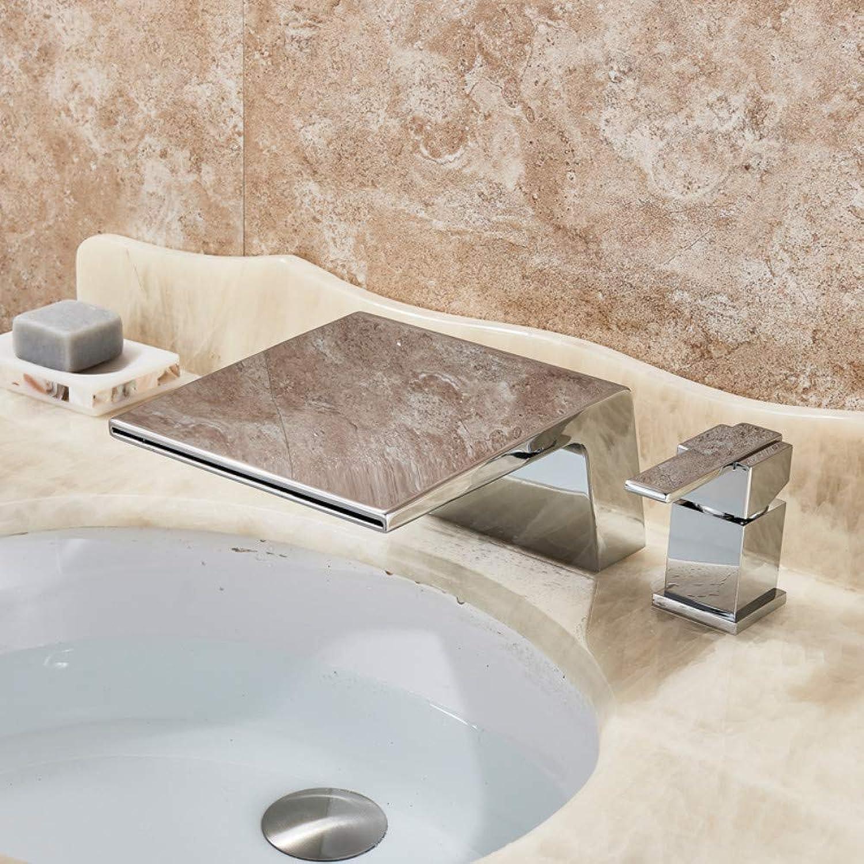 Deck Montiert Wasserfall Becken Wasserhahn Einzigen Griff Zwei Loch Chrom Bad Badewanne Waschbecken Mischbatterie Messing Wasserfall Auslauf Wasserhahn