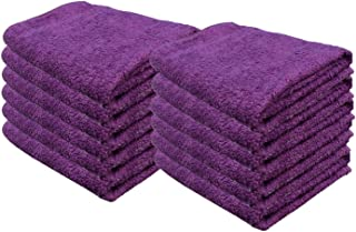 Cotton Bleach Guard Towels (12-Pack 16x26 inches) - Bleach Safe Gym Hand Towel, Luxury Hotel & Spa 100% Cotton Hand Towel Set by Creative Stitches (Purple)