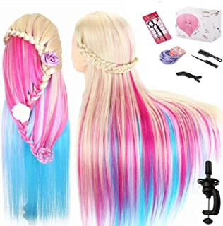 Beauty Star 29 Inch Colorful Mannequin Head with 100% Syntheic Hair Professional Bride Hairdressing Cosmetology Doll Head ...