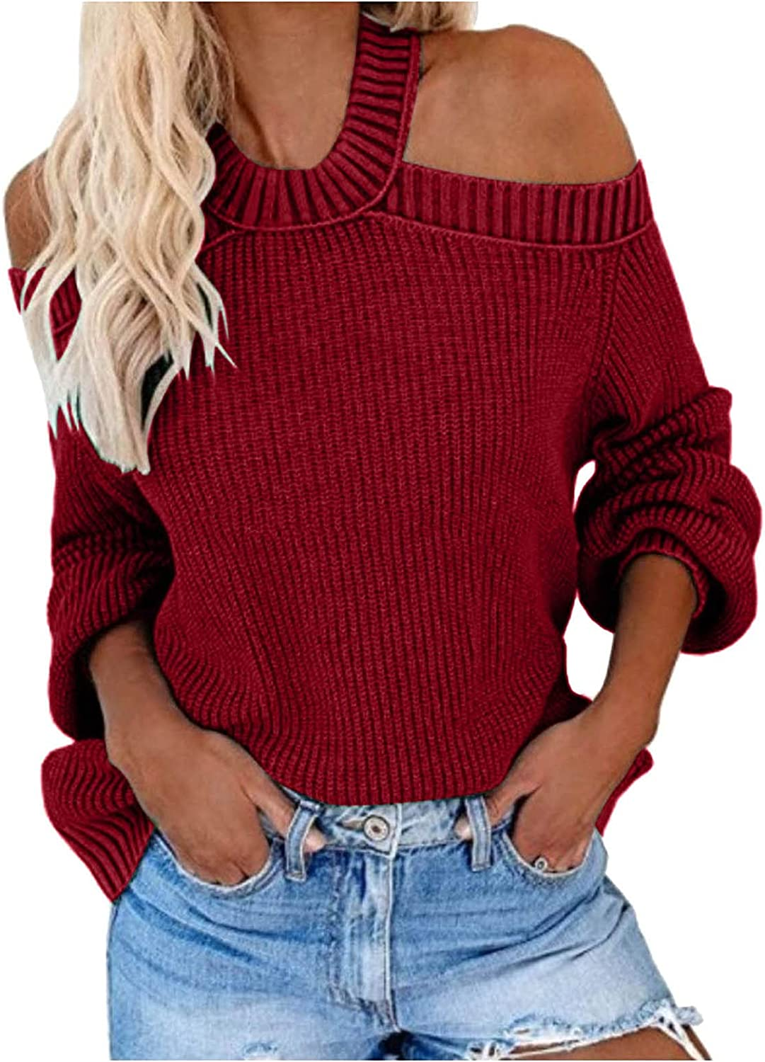 PLENTOP Womens Sweaters Oversized Long Sleeve Cold Shoulder Tops Shirt Tunic Sweatshirt Casual Loose Knit Blouse