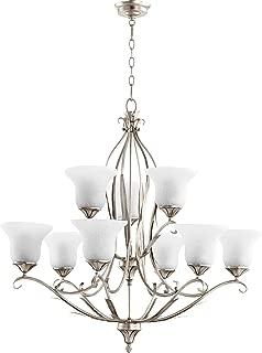 Quorum Lighting 6272-9-60, Flora Glass 2 Tier Lighting, 9LT, Aged Silver Leaf w/White Linen