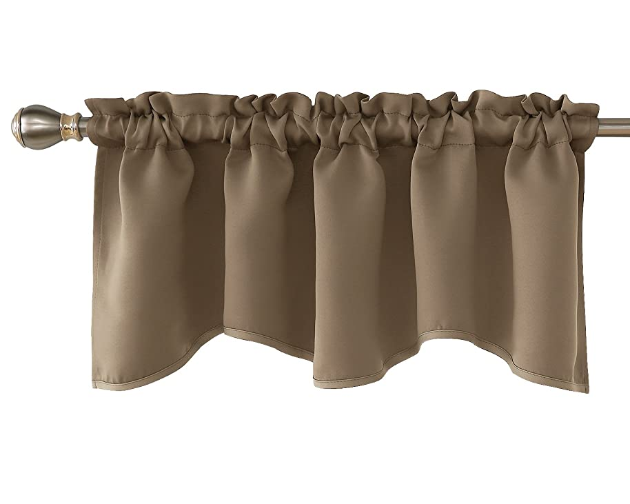 Deconovo Blackout Curtain Valances for Windows Solid Rod Pocket Scalloped Valance 42x18 Inch Khaki 1 Panel qzqxoewt9236