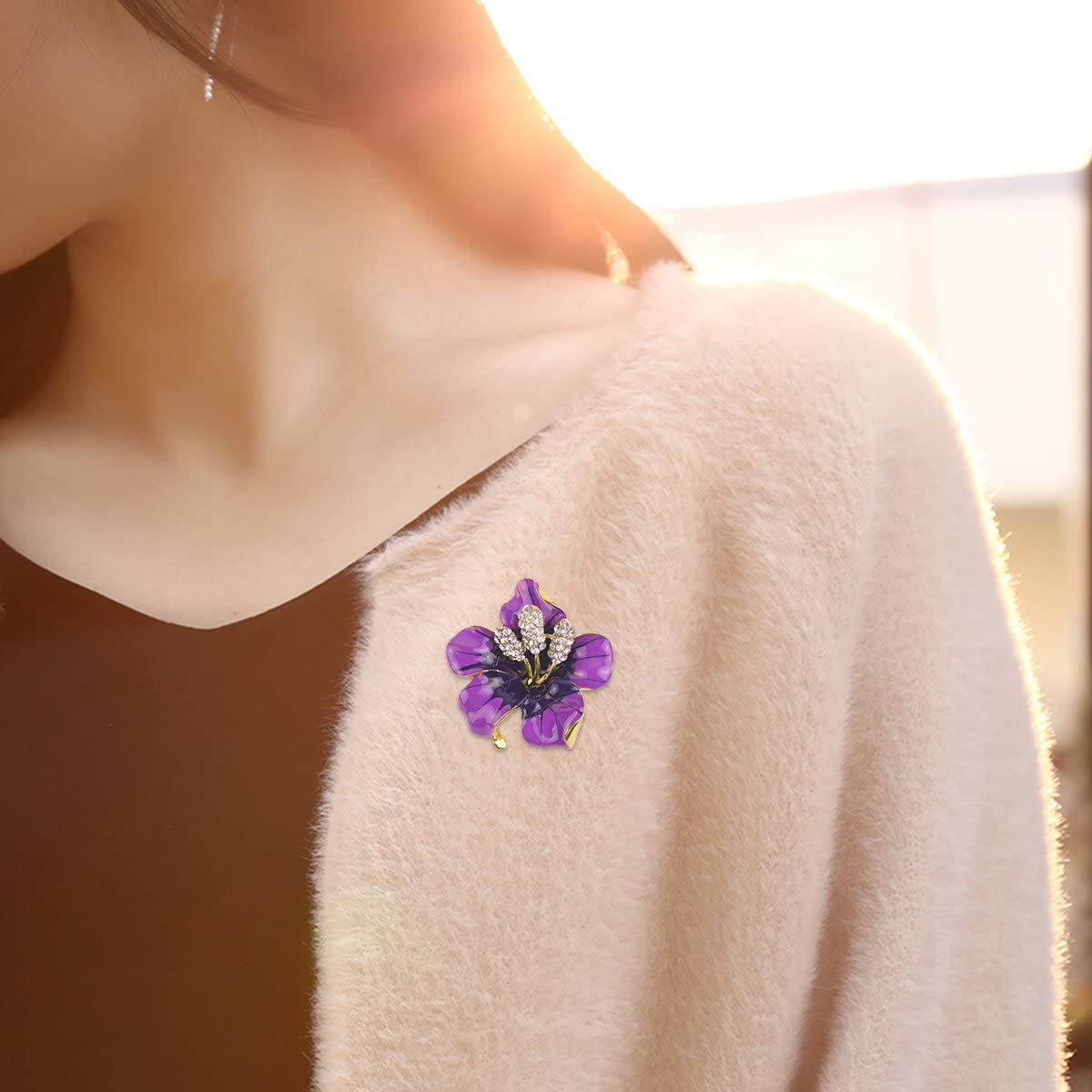 Merdia Brooch Pin for Women Flowers Brooch with Created Crystal Purple 29.8g