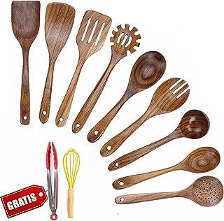 JUJOYBD Köksredskapsset trä – kökshjälpsset – köksbestick köksskedar teak – köksredskap värmebeständiga matlagningsverktyg...