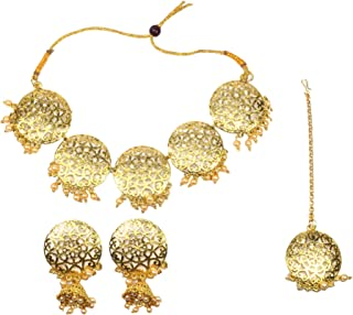 Frolics India Golden and Pearl Choker Set with Earrings and Mangtikka