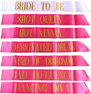 D-FLIFE 7 Pack Hen Party Sash, 1 White Bride to Be Sash+6 Rose red Team Bride Tribe Hen Sash for Girls Hen Night Out Bridal Shower Wedding Bachelorette Party Supplies