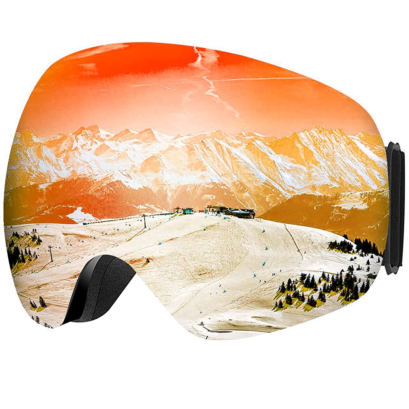Mpow G-2 Ski Goggles, Windproof Snowboard Goggles for Men Women Youth, VLT 18.5% Snow Goggles with Anti-Fog Double Lens and UV400 Protection