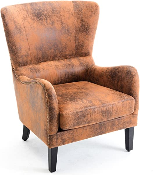 Belleze 翼子椅皮革钉头装饰高背中世纪风格加厚复古口音扶手锈棕色