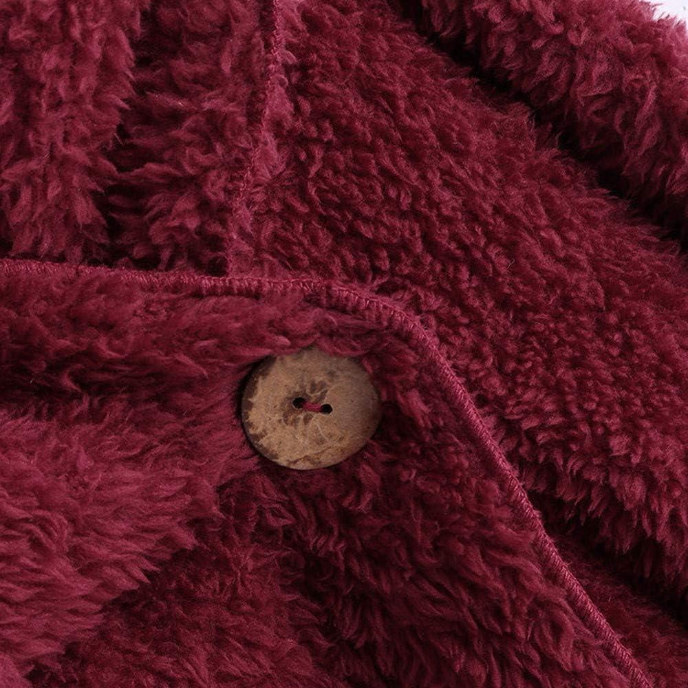 OSYARD Damen Reißverschluss Kapuzenpulli Mantel Winter Warme Wolltaschen Mantel Outwear, Frauen mit Kapuze Fuzzy Sherpa Sweatshirt Fleece Pullover Warmer Z-03 Rot(kein Hut)