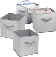 mDesign Fabric Closet Storage Organizer Cube Clothing, Blankets, Accessories - Pack of 4, Gray