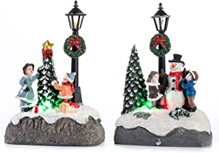 innodept12 Led Lighting Christmas Doll Figurine Tiny Resin Decors Battery Operated Set of 2