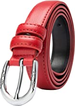 BISON DENIM Womens Stylish Thin Genuine Leather Skinny Waist Belts For Dresses Pants Jeans