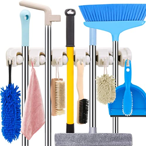 Mop and Broom Holder Wall Mount Heavy Duty Broom Holder Wall Mounted Broom Organizer Home Garden Garage Storage Rack ...
