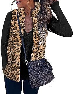 Women's Sleeveless Zip Up Fuzzy Fleece Lightweight Fall Warm Zipper Vest with Pockets