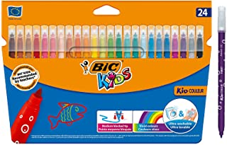 BIC Kids Kid Colour Felt Tip Colouring Pens Medium Point Assorted Colours, Pack of 24