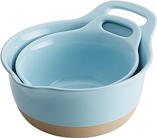 Rachael Ray Cityscapes Ceramic Mixing Bowl Set, Light Blue 2-Piece -