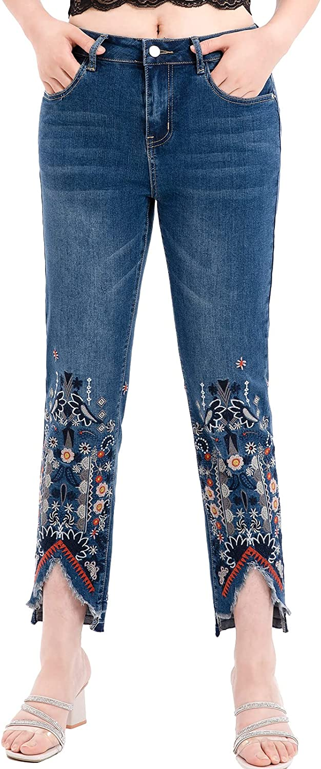 ThCreasa Womens Mid Rise Embroidered Jeans Straight Leg Stretch Cropped Denim Pants